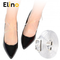 Elino 2pairs 58cm Transparent PVC Shoelace for Lady High Heels Elastic Ankle Shoe Bands with Belts Buckles Invisible Shoe Straps