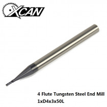 XCAN 1pc 1mm 45 Degree Tungsten steel CNC milling cutter 4 flute straight shank end mills for metal drilling milling