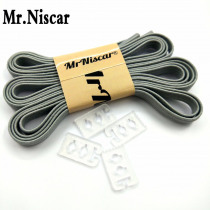 Mr.Niscar 1Pair High Quality Adult Kids No Tie Elastic Flat Shoelaces Athletic Sports Casual Shoes Lock Shoe Laces Light Grey