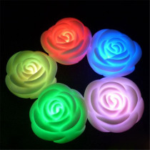 Colorful LED Candle Romantic Night Floating Rose Flower 7 Colors Changing Light Lamp Glow in the Dark Dinner Home Decor