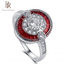 Bague Ringen Real 925 Sterling Silver Rings For Women Luxury Round Gemstone Red Ruby Ring Wedding Bands Hot Sale Gift Size 6-10