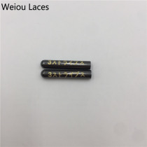 Weiou 4pcs/1Set 3.8x22mm Silver Gold GunBlack Rose Gold Seamless Metal Aglets With Lasering Japanese Letter Shiny Shoelace Tips