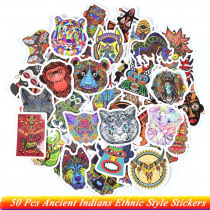 50Pcs Ancient Indians Ethnic Style Stickers Animals Tribal Masks Tattoo Decor Stickers to DIY Luggage Laptop Travel Case Guitar
