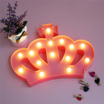 Pink Crown Wall Lamps LED Night Light For Kids Rooms Battery Power Night Table Plastic Lamp Party Light Home Decoration Lamp