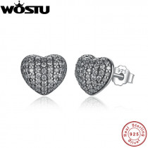 2019 New Real 925 Sterling Silver In My Heart Pave Stud Earrings With Clear CZ For Women Lady Authentic Original Jewelry Gift