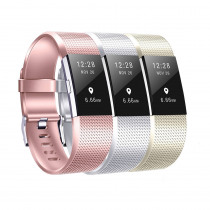 Baaletc For Fitbit Charge 2 Bands 3 Pcs Pack Rose God Black Smart Watch Strap Bracelet For Fitbit Charge 2 Band Small Large