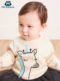 Mini Balabala Baby Graphic Fine-Knit Sweater Tops Long Sleeve Shirt Infant Newborn Baby Boys Girl Clothes Clothing Open Shoulder