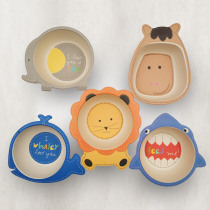 Baby Kids Natural Bamboo Fiber Bowls Cute Cartoon Animal Dishes Baby Feeding Tableware Children Infant Toddler Portable Plates
