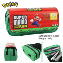 Super Mario Canvas Double Zipper Pencil Bag Anime Pencil Case Kids Gift Stationery Container School Supplies