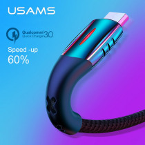 USAMS Micro USB Cable Smart Power off cable LED cable QC 3.0 quick charge charger cable for Android Xiaomi Huawei microusb cable