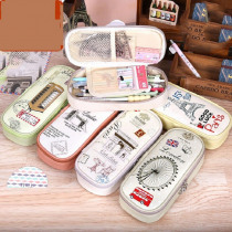 Retro Classical Pencil Case Eiffel Tower Pencil Bag High Capacity PU Leather Cover Pen Case British Stationery Pen Pouch H