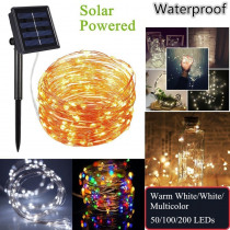 Outdoor Solar Powered Copper Wire LED String Lights 20M 10M 5M Waterproof Fairy Light for Christmas Garden Holiday Decoration