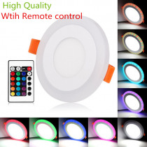 Double color RGB 3 Models LED Panel Light with Remote Control 6w/9w/16w/24W AC85-265V Recessed LED Ceiling downlight Panel Lamps
