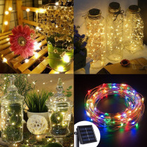 100/200 LED Solar Light Fairy Strip lamp 20m String Light Outdoor Waterproof Garland Holiday Wedding Christmas New Year Decor#35