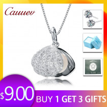Cauuev Casual Natural Pearl Jewelry Hot Selling 925 Sterling Silver Zircon Pendant Necklace Party  For Women Female fine Jewelry