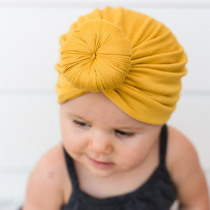 Newborn Baby Hats Cute Solid Knotted Elastic Headdress Girls Turban Headwraps