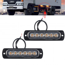2pcs 12V 6 Led lights Car Trailer Truck Motorcycle side marker light Turn Light Bar Indicators lamp Amber/red/white/blue