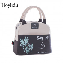 Portable Insulated Lunch Bags for Women Kids Food Bag Cute Cactus Printed Canvas Fresh Thermal Insulation Picnic Tote Cooler Bag