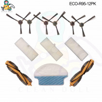 CLEAN DOLL 12-PACK  main brushes mop cloths side brush HEPA filter for Ecovacs Deebot DR95-KTA R95 R97 Vacuum Cleaner parts