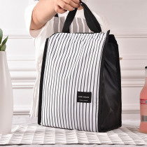 Black White Stripes Portable Thermal Lunch Bags for Women Kids Men Food Picnic Cooler Box Insulated Tote Bag Storage Container