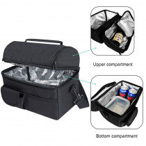 Lunch Bag Insulated Thermal Bag Women Men Multifunctional 8L Cooler And Warm Keeping Lunch Box Leakproof Waterproof  Black