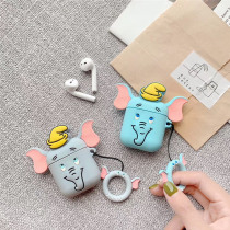 Finger Ring For Apple AirPods Bag 3D Cartoon Cute Dumbo Soft Silicone Earphone Case For Airpods Charging Box Protective Cover