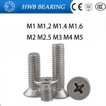 10/20/50/100pcs GB819 M1 M1.2 M1.4 M1.6 M2 M2.5 M3 M4 M5 Stainless Steel 304 Phillips Flat Countersunk Head Micro Machine Screw