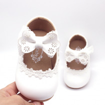 Newborn Flower Children Girls Toddler Baby Little Bowknot Leather Shoes For Girls White Lace Pink Party Wedding Dress Shoes New