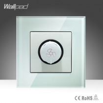 Fan Regulation Switch Wallpad White Luxury Tempered Glass 500W Rotary Fan Speed Regulate Dimming Wall Switch 220V Free Shipping