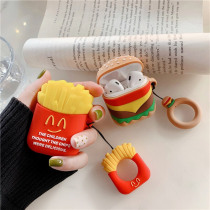 3D Cute Burger Fries Silicone Earphone Case For Apple AirPods Bluetooth Protective Cover Charging Box With Finger Ring Capa