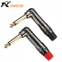 4pcs/2pairs Right angle mono Jack 6.35mm Luxury Gunmetal Microphone Plug Speaker Connector 6.35mm Mono Plug Assembly Black & Red