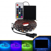 RGB 5050 LED Strip lights Black PCB Led Lighting Backlight Remote For TV Background with AA batteries box