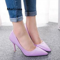 Women Fashion Purple High Quality Pu Leather Office High Heel Shoes Lady Cute Golden High Heel Pumps Mujer Tacones Altos G5371