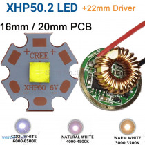 Cree XHP50.2 Gen2 6V Cool White Neutral White Warm White High Power LED Emitter + 22mm 1 Mode or 3 Modes or 5 Modes Driver