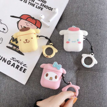 For AirPods 1/2 Case Cute Cartoon Cinnamoroll Melody Purin Earphone Cases For Apple Airpods Protect Cover with Finger Ring Strap