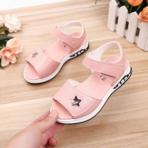 Pu Leather Girls Sandals New Summer Princess Sandals With Star Children Anti-skid Beach Shoes For Girl Size 27-36