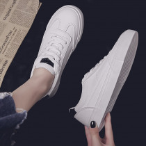 2019 Women Casual Shoes Spring Women Flats Fashion Breathable Leather Vulcanized Shoes White Lace-Up Summer Women Sneakers