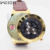 1pcs  Lighter Watches for Men casual sports Flameless Cigarette Lighter Quartz Watch leather strap USB charging clock F780