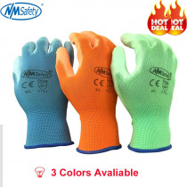 NMSAFETY 3 pairs Colorful Polyester Liner Gardening Glove Dipping PU Working Safety Gloves