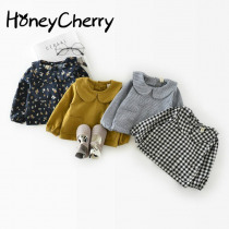 Autumn Cotton shirt Leaf Collar 0-1-2 Years Old Baby Jacket Girl Plaid Shirt Children Girl Top Blouse Girls School Blouses