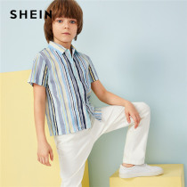 SHEIN Kiddie Single Button Front Striped Boys Shirts Tops Kids Clothes 2019 Summer Short Sleeve Casual Shirts For Teenagers