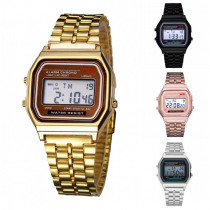 Men's Watch Vintage Watch Electronic Digital Display Retro Style Watch Gold Silver Watches Relojes Para Hombres Black Rose Gold