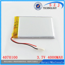 3.7V 3500MAH 4070100 Lithium polymer Battery with protection board For MID 7inch Tablet PC Free Shipping
