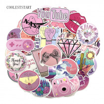 50pcs/set Cartoon Pink Graffiti Stickers Cute Sticker for DIY Luggage Laptop Skateboard Car Motorcycle Bicycle