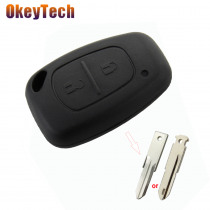 OkeyTech 2 Buttons Car Key Shell Fit VAC102/NE73 Blade For Renault Traffic Master Vivaro Movano Kangoo Replace Key Cover Case
