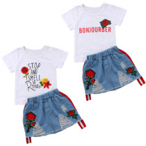 New Fashion Kid Baby Girl Summer Outfits T-shirt Tops Denim Rip Dress Party Clothes Stock