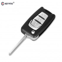 KEYYOU Flip Remote Key Shell Switchblade For Ssangyong Korando New Actyon C200 2016 2017 3 Button Folding Car Key Shell Case