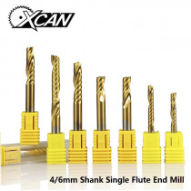 XCAN 1pc 4/6mm Shank Single Flute End Mill Carbide CNC Engraving Bit TiN Coated Straight Shank Milling Cutter Spiral End Mills