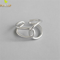Flyleaf Ins Minimalist Double Layer Line Cross Real 925 Sterling Silver Rings For Women Fine Jewelry Open Ring High Quality