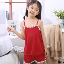 Summer Children Sling Pajamas Sets 2019 Cute Home Sleepwear Girls Short Kids lace Pijamas Top and Pant Gifts for Children's Day
